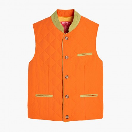 Gilet matelassé orange-olive clair