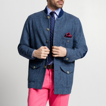 Suffolk en tweed donegal bleu cobalt